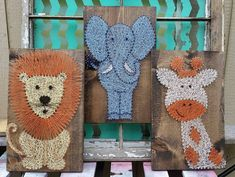 Safari Animal Nursery Decor, String Art Safari Animals, Lion Elephant and Giraffe Sign, Jungle Theme Nursery Art, Unique Baby Shower Gift Jungle Theme Nursery, Giraffe Nursery, Baby Nursery Themes, Animal Nursery, Nursery Art, Nursery Decor, Jungle Theme Decorations, Arte Linear, Nail String Art
