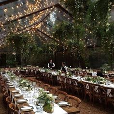 clear tent and string lights forest wedding reception wedding tent Enchanted Woodland Forest Wedding Reception Ideas for 2019 - EmmaLovesWeddings wedding venues reception ideas Forest Wedding Reception, Starry Night Wedding, Wedding Reception Lighting, Outdoor Wedding Decorations, Wedding Themes, Wedding Table, Wedding Venues, Dream Wedding, Wedding Ideas