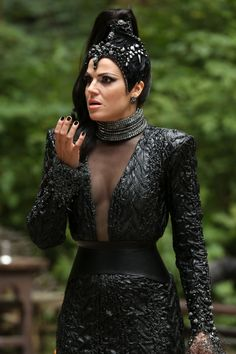Lana said this was her favorite evil queen costume and that it is actually made of rubber.