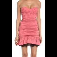 BCBG MaxAzria Fleur Cocktail Dress Size 4 cocktail rouched dress with sweetheart neckline in a beautiful coral color lace at bottom size 4 brand new with tags if any questions let me know BCBGMaxAzria Dresses Mini