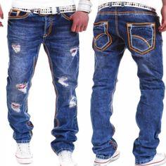 Herren straight fit jeans hose destroyed dicke naht blau clubwear hellblau  neu 5079e5a8d4