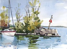 There was a rare calm near the lake today, which made it especially nice for sketching. Sailboats motoring in and out of the still water, a young boy fishing from the shore, families strolling by w…