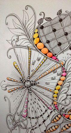 "Studio ML: 10,5"" X 10,5"" Tile detail by Mariet #Zentangle #Zentangle Patterns"