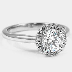 18K White Gold Halo Diamond Ring // Set with a 0.80 Carat, Round, Super Ideal Cut, G Color, VVS2 Clarity Diamond #BrilliantEarth