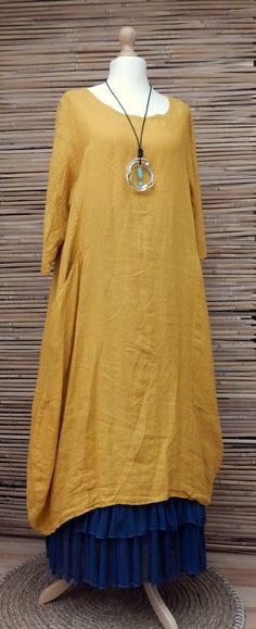 "LAGENLOOK LINEN 2 POCKETS LONG TUNIC-DRESS*SUNFLOWER*BUST UP TO 46"" 14-18 OSFA in Clothes, Shoes & Accessories, Women's Clothing, Dresses 