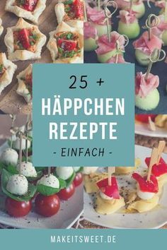 Snacks and finger food - Häppchen und Fingerfood – MakeItSweet.de Simple recipes for appetizers and finger food. Ideal for the next party, buffet or when visitors come. Party Finger Foods, Snacks Für Party, Appetizers For Party, Simple Appetizers, Fingerfood Party, Seafood Appetizers, Cheese Appetizers, Toothpick Appetizers, Tapas Party