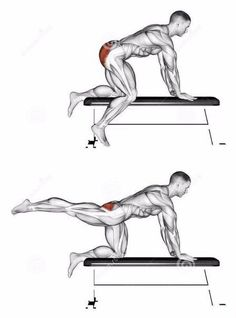 Kick backs;  to make this exercise more challenging you can secure one end of a band to a sturdy pull and the other end to you foot to add resistance to the leg you are kicking back.  Feel the burn!