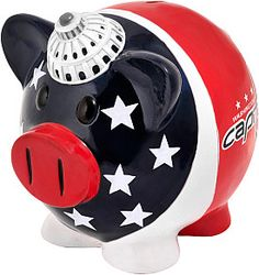 The Thematic Piggy Banks are uniquely designed with a theme of your favorite teams! Each piggy bank comes specially molded, made of resin and hand painted. Redskins Gear, Large Piggy Bank, Bank Safe, Buy Caps, Nhl Washington Capitals, Nhl Apparel, Penny Bank, Money In The Bank, Money Box