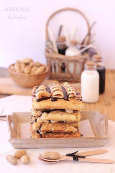 Cookcakes de Ainhoa: TARTA GOFRES DE PLÁTANO Y CREMA DE CACAHUETE