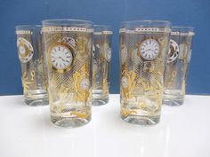 Vintage Time For A Drink Heavy Hi Ball Tumblers by MarieWarrenArts