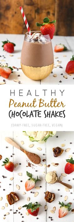 Truly healthy peanut butter chocolate shakes. No dairy or refined sugars, we're keeping this as natural as possible with only 7 ingredients!