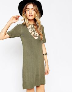 Image 1 ofASOS Lace Up A-line Dress In Knit