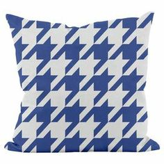 Add a pop of pattern to your sectional sofa or loveseat with this eye-catching pillow, showcasing a geometric motif in dazzling blue.  Product: PillowConstruction Material: PolyesterColor: Dazzling blueFeatures:  Made in USAHypo-allergenicConcealed zipper  Cleaning and Care: Spot clean recommended