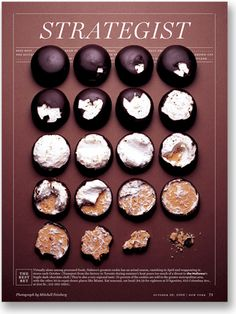 German Küsse (used be called Dickmann). The are chocolate coated marshmallows on a wafer, and can be coated with different flavor chocolate and topped with nuts, coconuts etc. Editorial Layout, Editorial Design, Layout Inspiration, Graphic Design Inspiration, Layout Design, Print Design, Design Design, Braun Design, Magazin Design