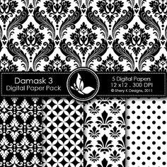 Printable Damask Paper Pack 3  5 Printable by SheryKDesigns, $2.00