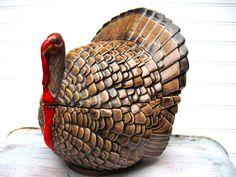 Trinket box candy dish turkey thanksgiving ceramic by southcentric, $31.35