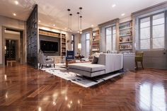 American Walnut Herringbone Finish: Tung Oil High-Gloss Poly Featured: Private Residence, Moscow