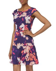 Cap-Sleeve Floral-Print Fit-And-Flare Chiffon Dress, Dark Violet by Ali Ro at Neiman Marcus Last Call.