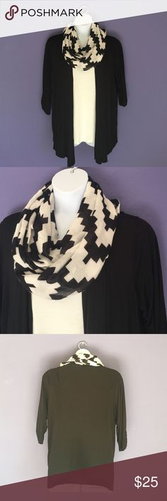 "🎉New Listing🎉I.N. Studio Top w/Scarf This all in one top is easy to wear and comfortable. Although it appears to be 2 pieces, the top is one piece.  The scarf is paired with the top for a finished look.  Wear with jeans for a great outfit.  Material:  95% Rayon/5% Spandex. Measurements:  Length - 33""/Bust - 26"" I.N. Studio Tops"