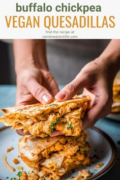 These Vegan Buffalo Chickpea Quesadillas are absolute best vegan quesadillas you will ever try! Made with a spicy buffalo sauce, chickpeas, and a Mexican cheese sauce, this is the ultimate comfort food! Vegan Vegetarian, Vegetarian Recipes, Healthy Recipes, Vegan Raw, Healthy Vegan Meals, Vegan Chili, Vegetarian Barbecue, Barbecue Recipes, Vegan Foods