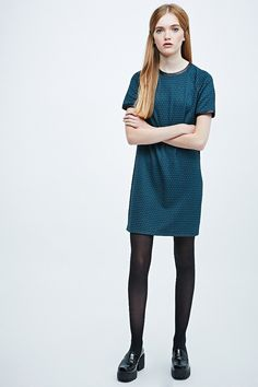 Cooperative Textured Faux Leather Trim Dress in Teal - Urban Outfitters