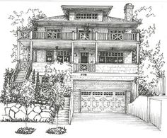 Custom House Portrait, Drawing of  house in ink