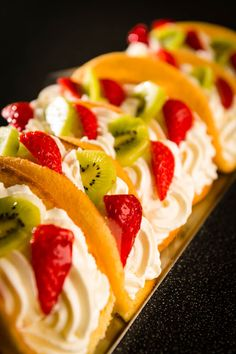 This recipe for sweet fruit tacos are the perfect dessert to serve on Cinco de Mayo, at summer cookouts, or on Taco Tuesday!