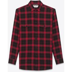 Saint Laurent Shirt (€330) ❤ liked on Polyvore featuring men's fashion, men's clothing, men's shirts, men's casual shirts, tops, shirts, men, flannel, mens longsleeve shirts and mens oversized shirt