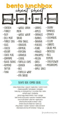 Bento Lunch Box Cheat sheet for a healthy meal prep! Bento Lunch Box Cheat sheet for a healthy meal prep! Lunch Snacks, Lunch Recipes, Healthy Recipes, Bento Lunchbox, Box Lunches, Diet Recipes, Snack Box, Kid Snacks, Sandwich Recipes