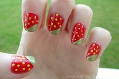 Cute And Eye-catching Red Fruity Nail Art Design Inspiration With Yellow Dots And Green Leaves Motif - How To Design Nail Art