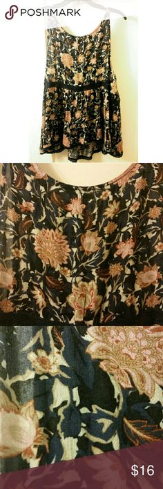 American Eagle Floral Babydoll Tank American Eagle brand babydoll style tank with gorgeous navy floral pattern and crochet detail at bustline. Keyhole detail on back. This is a re-posh because I love it so much but it is top big for me sadly :( I am looking for one in a smaller size if anyone sees one! Never worn by me, like-new condition... bought with tags attached! Size XL American Eagle Outfitters Tops Tank Tops
