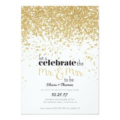 Mr. and Mrs. to be Gold Glitter Engagement Invite