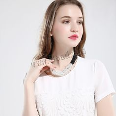 comeon® Jewelry Necklace, Clear Quartz, with Nylon Cord & Glass, natural, for woman, nickel, lead & cadmium free,china wholesale jewelry beads