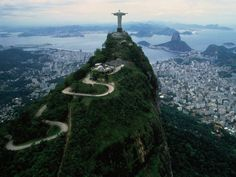 Christ the Redeemer, Brazil. The statue of Jesus Christ sits atop Corcovado Mt. overlooking Rio de Janeiro