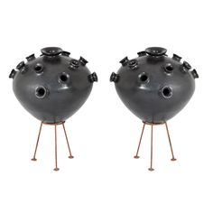 """Pair of important flower stand """"Bucchero"""" vases 
