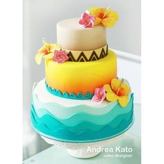 New cake designs birthday baby party ideas ideas Hawaiian Birthday Cakes, Moana Birthday Party, Luau Birthday, Cake Birthday, Birthday Ideas, Luau Cakes, Party Cakes, Cake Decorating Designs, Cake Designs