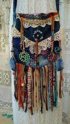 Handmade Fringe Denim Cross Body Bag Vintage Lace Boho Hobo Hippie Purse tmyers in Clothing, Shoes & Accessories, Women's Handbags & Bags, Handbags & Purses Mode Hippie, Hippie Man, Bohemian Mode, Hippie Boho, Hippie Style, Boho Chic, Esprit Hippie, Bohemian Style, Bohemian Bag