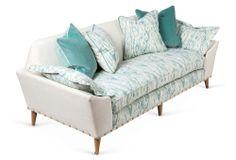 "One Kings Lane - The Relaxed Living Room - Annelise 87"" Sofa, Aqua"