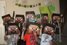 Minecraft party - check out the creeper game idea and I like the Steve heada Minecraft Party Games, Minecraft Birthday Party, 8th Birthday, Birthday Parties, Birthday Ideas, Minecraft Ideas, Kid Parties, Festa Party, Diy Party
