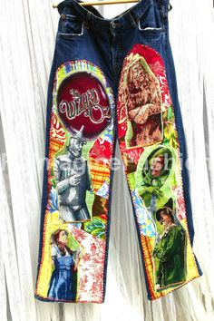 Wizard of OZ patchwork jeans! One of a Kind Construction salvaged from vintage OZ textile and fabric scraps.  By ReImagineFashion.com