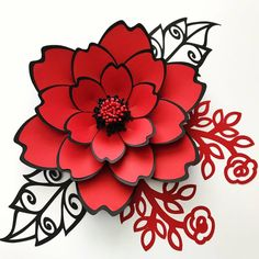 SVG Petal 100 Paper Flower Template Digital Version The SVG Paper Flower Template, Digital Version, The Couture - Original Design by Annie Rose, Cricut and Silhouette Ready Giant paper flower from The Crafty Sagittarius Etsy Red and black Friday night for Origami Paper, Diy Paper, Paper Art, Paper Crafts, Giant Paper Flowers, Diy Flowers, Vintage Flowers, Paper Quilling Flowers, Paper Butterflies