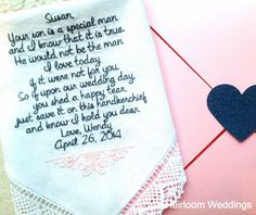 Mother in Law FREE matching gift envelope BRIDE Wedding heirloom handkerchief embroidered personalized hankie gift embroidery mom, $30.00