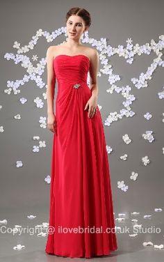 Absorbing Ruched Strapless Fuchsia Chiffon Bridesmaid Dress/Evening Dress
