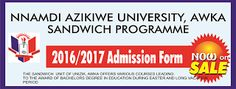 UNIZIK Sandwich Admission Form is Out - 2017