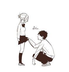 E-Eren? Eren And Annie, Attack On Titan Comic, Annie Leonhart, Eren And Mikasa, Rivamika, Aot Characters, Eremika, Levihan, Anime Ships
