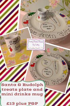 Christmas Plate for Santa & Rudolphs treats by PrettyPlatesPlease, £13.00