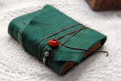 Distressed Leather Journal Emerald Dreams  Hand by bibliographica, $85.00