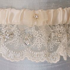 Vintage Embroidered Garter with Sequins & Beads