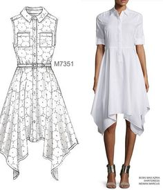A handkerchief hem is an updated twist on the classic shirtdress. McCall's #m7351. #sewthelook #mccallpatterncompany inspo dress by BCBG Max Azria, available at Neiman Marcus.