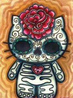 Hello Kitty sugar skull style - Dia De Los Muertos - Day of the Dead - Halloween Mandala Art, Princesas Disney Dark, Chat Hello Kitty, Kitty Kitty, Candy Skulls, Sugar Skulls, Sugar Skull Artwork, Posca Art, Sugar Skull Tattoos